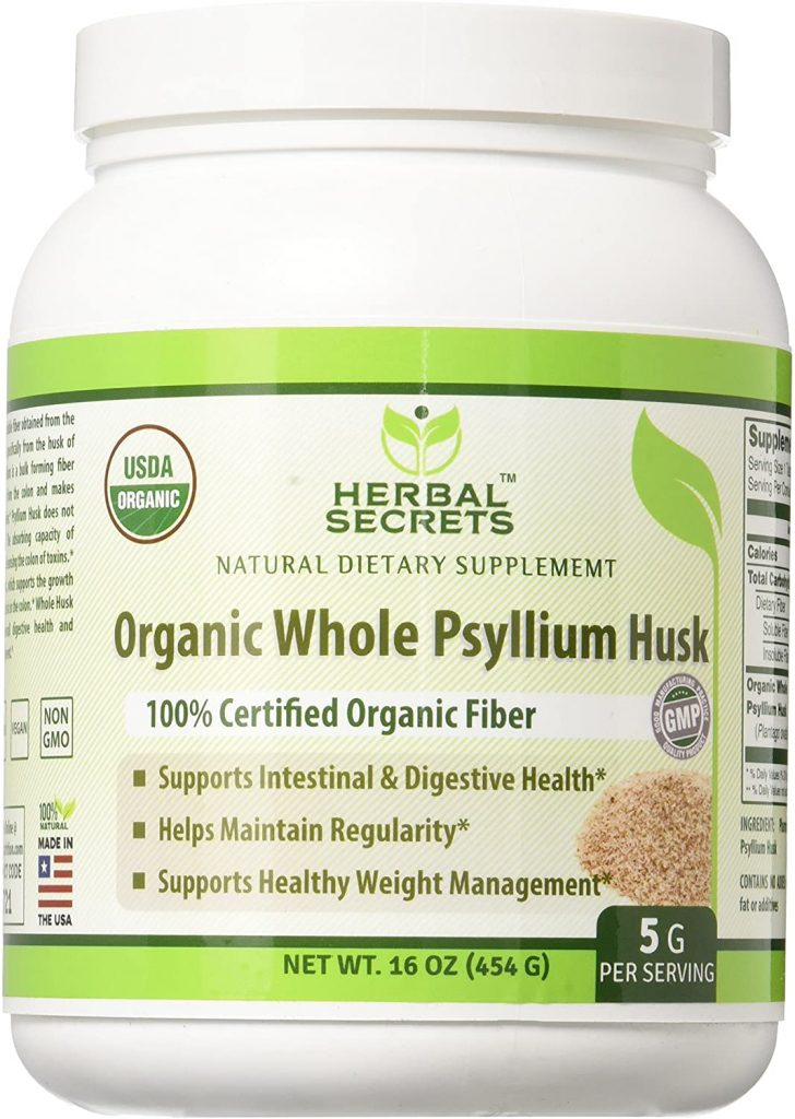 Herbal Secrets - Organic Psyllium Husk - Organic Fiber Supplement